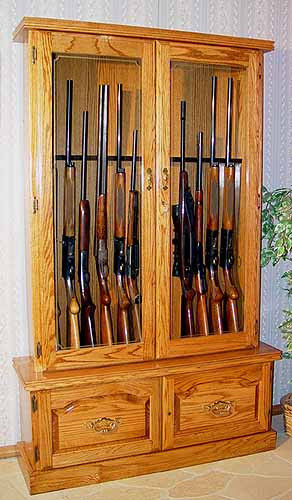 12-Gun-Premium-Solid-Oak-Fully-Assembled-Locking-Rifle-Display-USA-Made-0