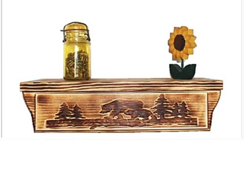 17-12-Wood-Wall-Shelf-Bear-Carving-Hidden-Compartment-Gun-Case-Jewelry-Safe-0