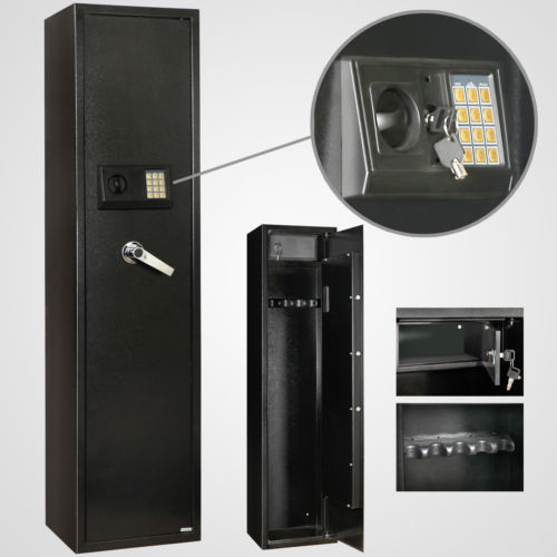 5-Gun-Rifle-Storage-Security-Gun-Cabinet-Safe-Locker-Shotgun-Firearm-Keypad-New-0
