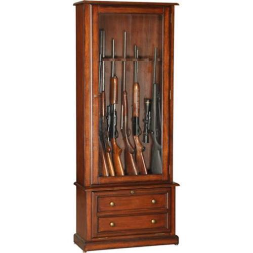 American-Furniture-Classic-8-Gun-Security-Gun-Cabinet-Tempered-Glass-Solid-Wood-0