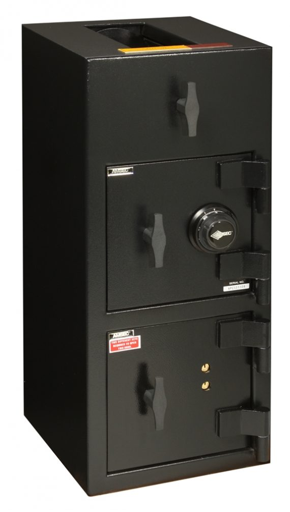 "American Security DST3214CK – ""B"" Rated Top Load Rotary Depository Drop Safe With Combination Lock Depository and Dual Key Lock Bottom Locker"