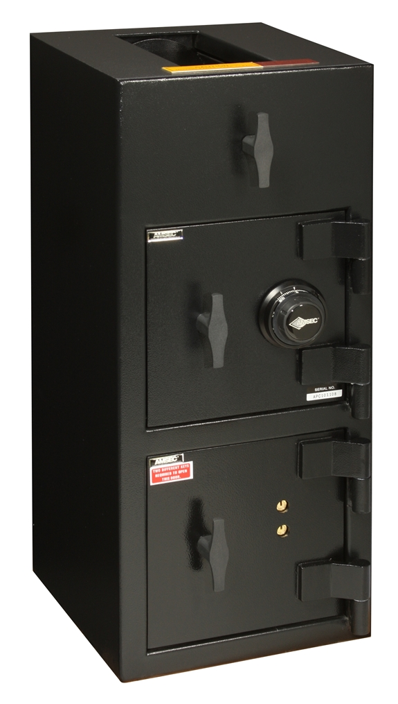 "American Security DST3214CK - ""B"" Rated Top Load Rotary Depository Drop Safe With Combination Lock Depository and Dual Key Lock Bottom Locker"