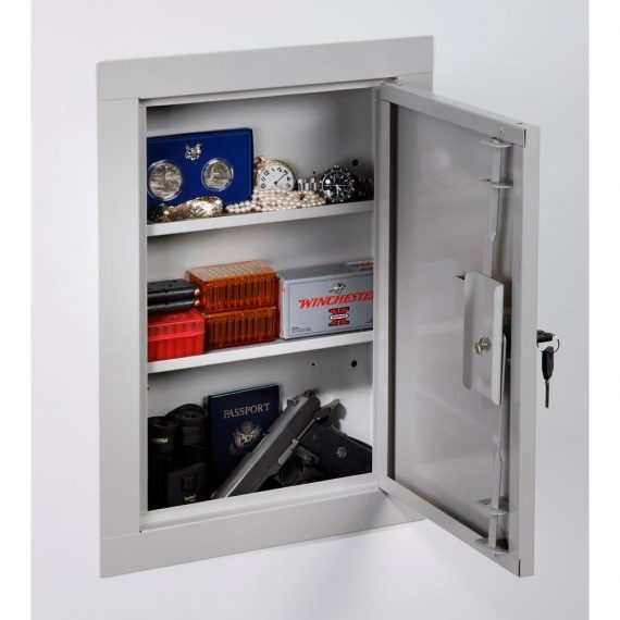 Concealable-Wall-Mount-Locking-Security-Gun-Cabinet-Safe-with-Three-Tier-Shelves-0