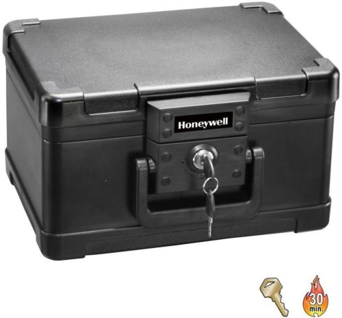 Molded-Fire-Chest-Storage-Safe-Key-Lock-0-15-cu-ft-Small-Black-Home-Office-New-0