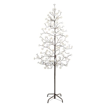 6.5-Foot Tall Electric Cool White Flower Tree with Clear Flowers and Outdoor Adaptor