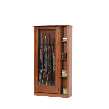 American Furniture Classics 10-Gun/Curio Cabinet Combination, #725, Medium, Brown