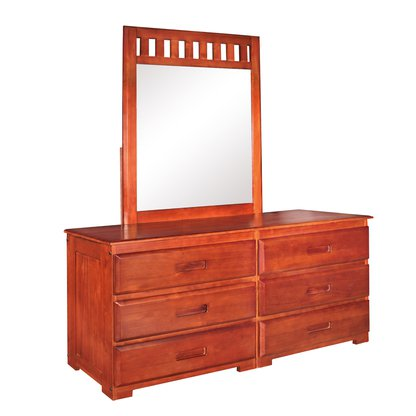 American Furniture Classics 6 Drawer Dresser with Mirror - Merlot