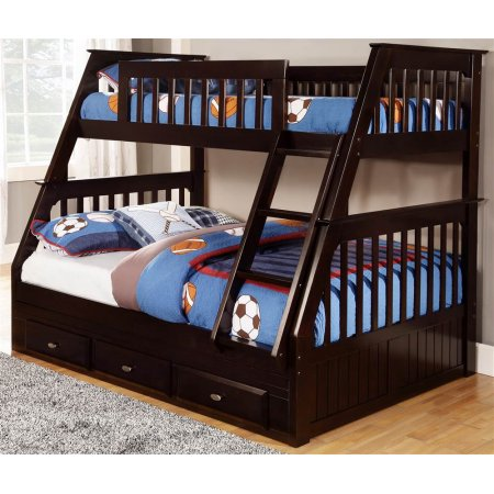 American Furniture Classics Mission Staircase Twin over Full Bunk Bed with 3 Drawers – Espresso