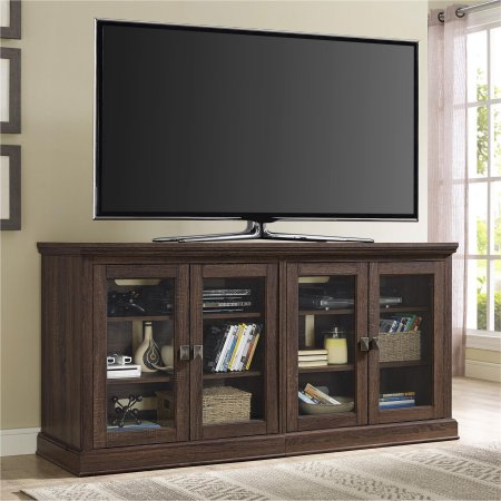 """Ameriwood Home Bennett TV Console with Glass Doors for TVs up to 70"""" Wdie, Medium Oak"""