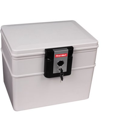 First Alert 0.14 cu. ft. Fire and Waterproof Media Chest with Key Lock, 2040F Gray