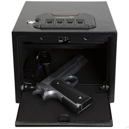 Ivation Electronic Gun Safe w/Mechanical Pop-Open Door - Solid Steel Construction & Hidden Wall/Floor Anchoring Design