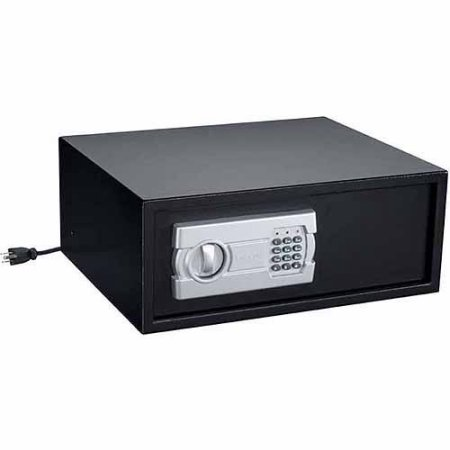 Stack-On Extra-Wide Personal Safe with Electronic Lock and Socket, Black